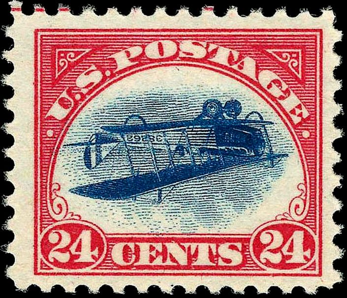 US_Airmail_inverted_Jenny_24c_1918_issue