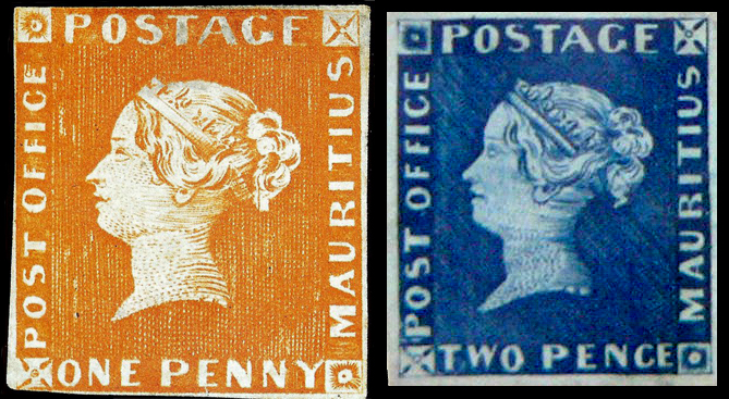 mauritius_one_penny_and_two_pence_stamps