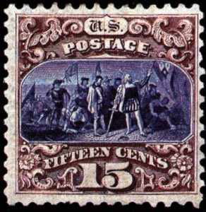3 Landing Of Columbus Stamp 1869